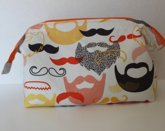 Shaving kit bag, Zippered Travel Bag, Retreat Bag, moustache and beard bag, toiletry bag, Gift for Dad, Father's Day gift, gift for him