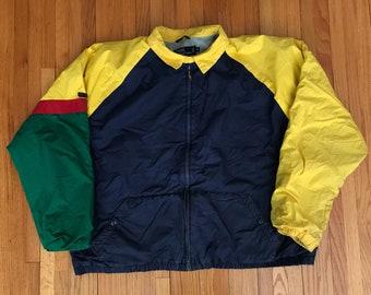 Vintage 90s Ralph Lauren Colorblock Fleece Lined Jacket. Size XL
