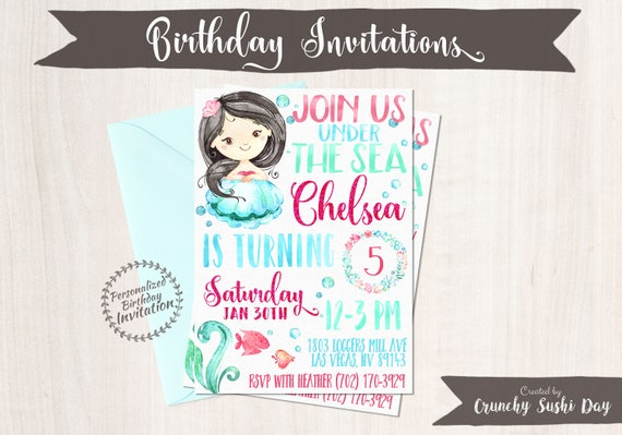 Mermaid Birthday Invitations, Mermaid Birthday Party, Customizable, Beach, Girl Birthday, Printable Invitations, Pink, Teal, Black Hair 066