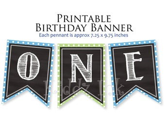 """1st Birthday """"ONE"""" Banner   First Birthday Party   Cake Smash Banner   Party Decor   1st Birthday Photo Prop   Printable DIGITAL DOWNLOAD"""