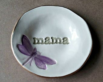 Ceramic Ring Holder Dish  Ring Bowl Ring Holder Trinket Dish edged in gold MAMA  Mothers day