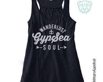 WANDERLUST GYPSEA SOUL, Flowy racerback tank, fitness, gym,workout,yoga,pilates,barre, funny, love, beaches,sand, gypsy