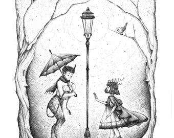 Lamp post drawing | Etsy