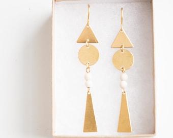 Geometric earrings, Triangle earrings, dangle earrings, long dangle earrings, Minimal earrings,  Brass earrings, Tribal earrings, Statement