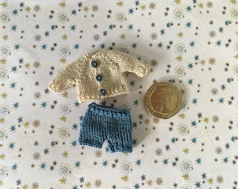 Dollshouse 1/12th miniature hand knitted Toddler cardigan and shorts