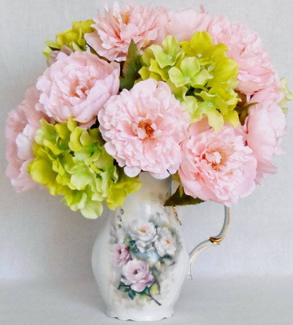 Artificial flower arrangement pink peonies lime green mightylinksfo Images