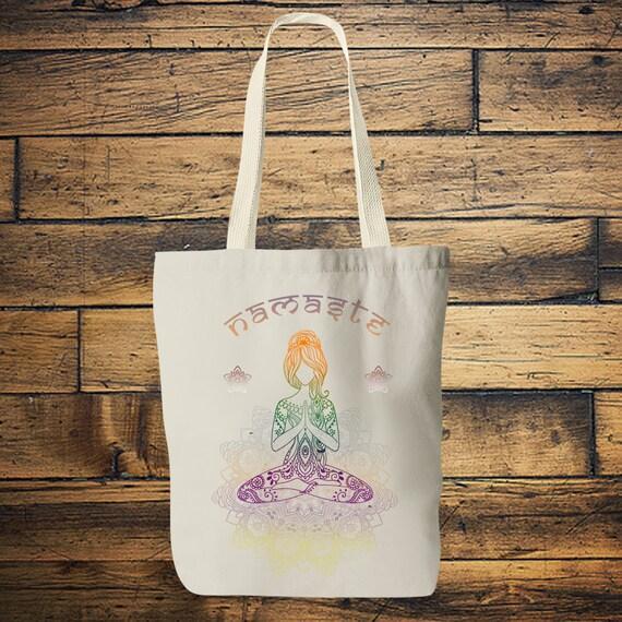 NAMASTE TOTE BAG- Yoga bag- Mandala- Hippie bag- Screen print- Back to school- Yoga- Tote Bag- Student- Vintage- Stocking Filler- Christmas