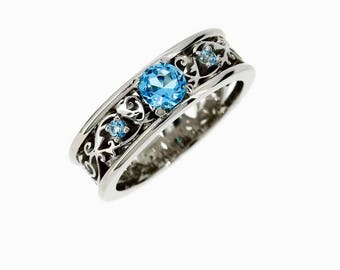 Royal Wide Filigree Ring with Swiss blue topaz, white gold, filigree engagement ring, blue topaz solitaire, wide, unique, vintage, custom