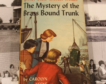 Vintage Nancy Drew, The Mystery of the Brass Bound Trunk, #17, By Carolyn Keene, Hardcover Book # 9517, Grosset & Dunlap, circa 1960s