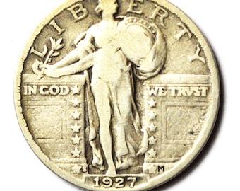 1927 S 25c Standing Liberty Twenty Five Cents Quarter Dollar San Francisco