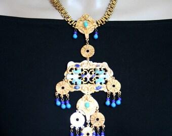 Antique necklace, Byzantine necklace in antique, antique long necklace, Theodora - THEODORA Byzantine empress necklace