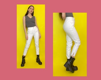 Vintage 90s DKNY High Waisted White Denim Cropped Skinny Jeans