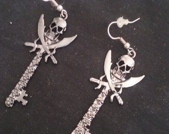 Skull Sword Key Earrings, ComicCon Jewelry, Mini Sword Key Earrings, Role Playing Jewelry, RenFest Jewelry, ComCon Earrings, RPG Earrings