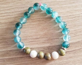Fertility Pregnancy Bracelet with Moonstone, Jade and Unakite