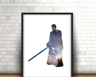 Obi Wan Kenobi Star Wars Inspired Art Print Filled With Galaxy Nebula Space