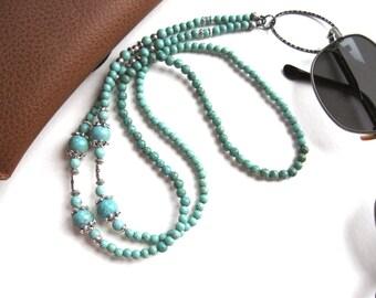 Turquoise Glasses Lanyard, Magnesite Glasses Holder, Eyeglass Lanyard, Beaded Lanyard, Holder Necklace, Glasses Chain, Glasses Necklace