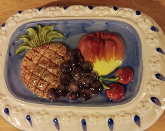 Vintage Ceramic Fruit Jello Mold Wall Hanging By Sigma Tastesetter; MINT