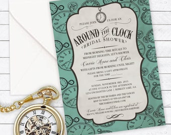Around clock invite etsy around the clock bridal shower invitation couples shower household shower custom invitation filmwisefo Images