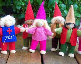 """4"""" Wood and wire doll with felt clothes Waldorf dolls craft doll"""