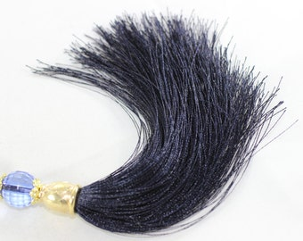 1 / 5 / 20 Piece of Dark Blue Silky Thread Tassel 110 mm with Bead and Gold Tone Caps  for your lovely designs