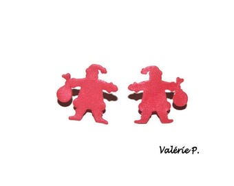 thin silhouettes of Santa Claus red polymer clay earrings