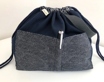 Navy Spots Project Bag, Knitting Bag, Drawstring Project Bag