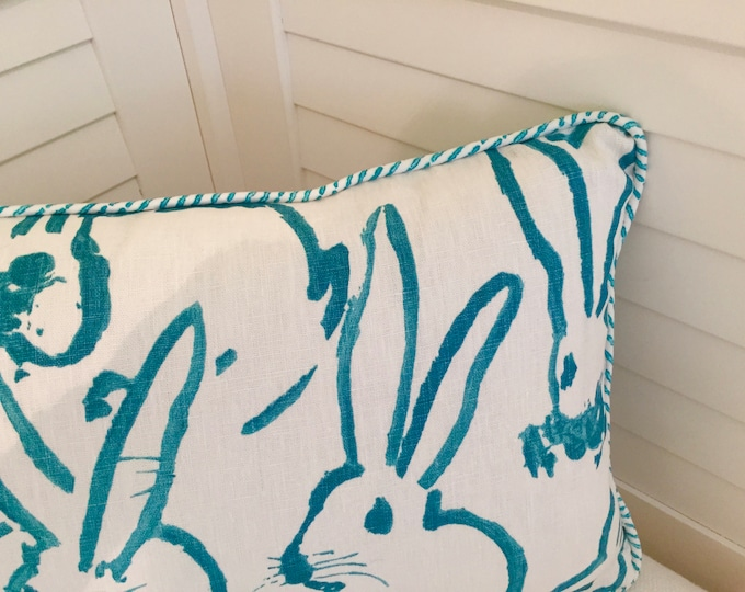 Groundworks Bunny Hutch Print Turquoise on Both Sides Designer Pillow Cover with Choice of Piping Color - Square, Lumbar and Euro Sizes