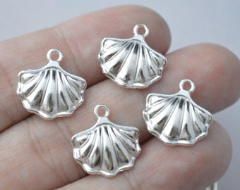 5 Pcs Shell Charms Bright Silver Tone 2 Sided 15x15mm - YD1280