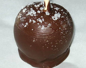 Caramel Apples dipped in Milk Chocolate and sprinkled with sea salt