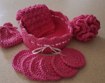 Hand Crocheted 100 % Cotton Spa set. 10 Piece Facial Set. 1 Facial Wash Cloths, 6 Scrubbies & Basket. 1Soap  saver. 1  Crochet Puffy.