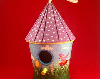 Birdhouse,Decorated birdhouse,Handpainted wood decor,Colourful birdhouse,Spring landscape painting,Spring decor,Housewarming gift,Garden