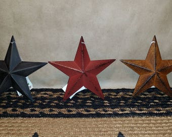 "Set of 3 Primitive 5.5"" Barn Star Ornaments, Choose Colors: Black, Burgundy, Rusty, Metal, 3D, Distressed"