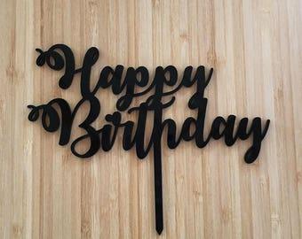 Happy Birthday Acrylic Cake Topper Choose Colour Laser Cut