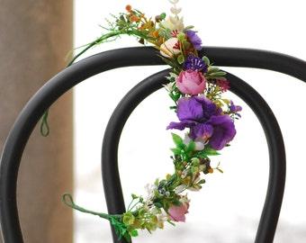 Iris pink flower crown Flower halo Bridal Crown Woodland wedding Wedding hair accessory Wedding flower crown Flower crown Floral Wreath