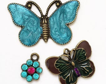 new stock turquoise blue brown and green enameled bronze tone metal butterfly and flower charm pendants--mixed lot of 3