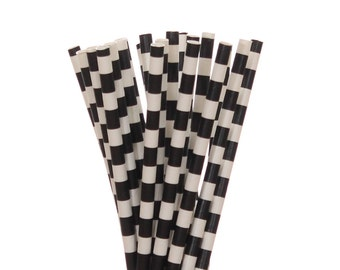 Paper Straws, Black Rugby Horizontal Striped Paper Straws, Black Birthday Party Straw, Little Man Party Decor, Black & White Party Supplies