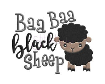 Nursery Rhymes Bah Bah Black Sheep Embroidery Design - 6 Sizes 10 Formats Machine Embroidery Designs for Kids - Instant Download Files