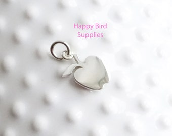 Sterling Silver Apple Charm  -- 1 Piece