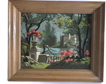 Vintage Paint by Number Country Scene with Urns and Monument Landscape with a Wood Frame  PBN Home Decor