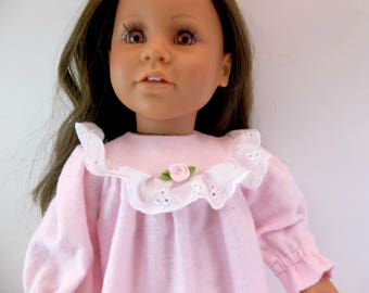 "18 inch Doll Sleepwear Pale Pink Flannelette Nightgown to fit 18"" American Girl Doll"