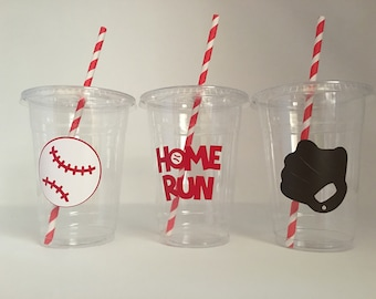 Baseball Party Cups, Sports Party Cups, Baseball birthday party, Baseball Baby Shower, Baseball Party Favors