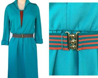 Vintage 70s Dress, Orange & Teal by Nancy Greer New York SZ 6, 1970's Dress, Mod Dress