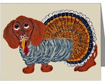 Dachshund Cards/Dachshund Turkey Cards/Dachshunds/Thanksgiving/ (Pack of 10 Note Cards & Envelopes)/Assortment Available/Doxie Cards