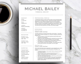 Professional Resume Template For Word U0026 Pages, CV Template With Cover  Letter, 1 And