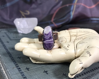 Chevron Amethyst Electroformed Chunky Stone Ring | Size 8 Copper Ring | SPRING CLEAN SALE Boho Chic