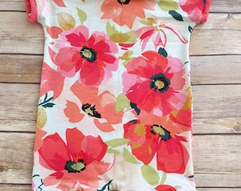 Size 3 mos. Poppy and coral romper