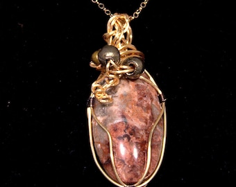 "Necklace, Jasper stone wrapped in gold color wire with beads on 18"" chain. Handmade"