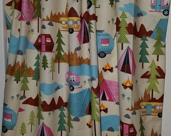 Retro camper happy camper curtain panels choose size