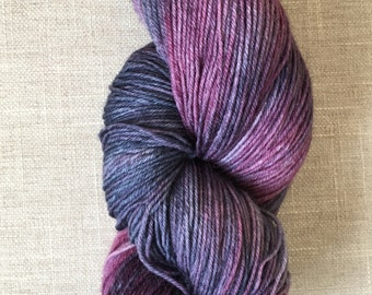 "Seren sock in ""blueberry plum"" colourway"