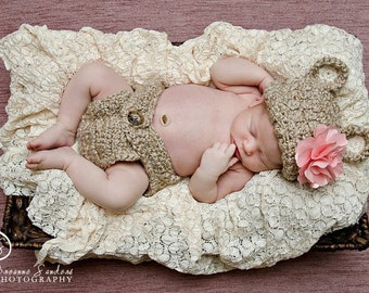 Baby Bear Outfit, Newborn Photo Prop, Crochet Baby Outfit, Baby Shower Gift, Hat and Diaper Cover, Coming Home Outfit, Baby Boy, Baby Girl